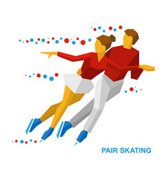 Winter sports - pair figure skating couple on ice vector