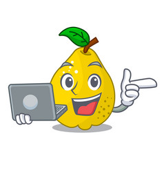 with laptop character ripe quince fruit with leaf vector image