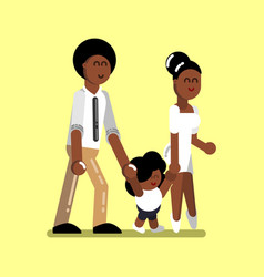 Young afro american family vector
