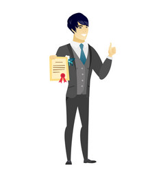 Young asian groom holding a certificate vector