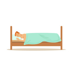 young man sleeping on stomach in his bed relaxing vector image