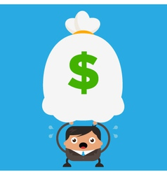 Business Man Holding Big Heavy Bag of Money vector image vector image