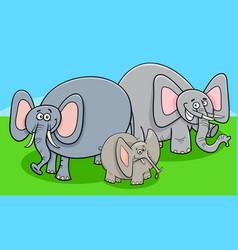 funny elephants cartoon character group vector image vector image