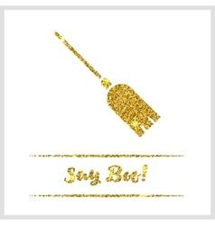Halloween gold textured broom icon vector image vector image