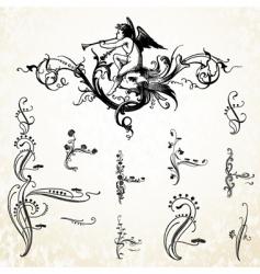 angel swirl ornaments vector image vector image