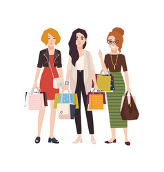 group of young happy woman holding shopping bags vector image