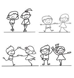 hand drawings cartoon happy kid happiness concept vector image vector image