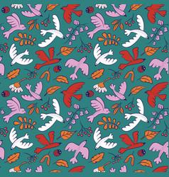 seamless pattern with cute cartoon birds vector image