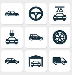 Auto icons set collection of wheel car vector