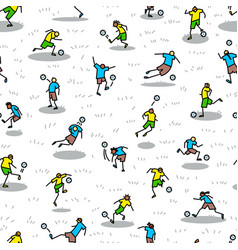 background with soccer players with ball vector image vector image