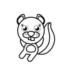 cartoon beaver animal outline vector image