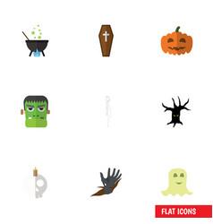 flat icon festival set of zombie casket spirit vector image vector image