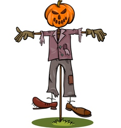 halloween scarecrow cartoon vector image