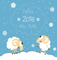 New year card with cute funny screaming sheep vector