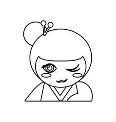 portrait kokeshi doll outline vector image