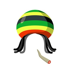 Rasta Cap with dreadlocks on white background vector image