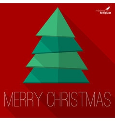 Christmas tree greeting card template vector image vector image