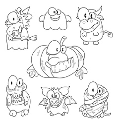 Collection of halloween creatures vector image vector image