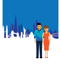 Couple on a cityscape background vector