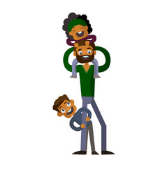 dad holding his son and daughter on isolated white vector image