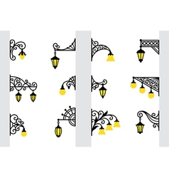 Decorative stylized wall lanterns vector image vector image