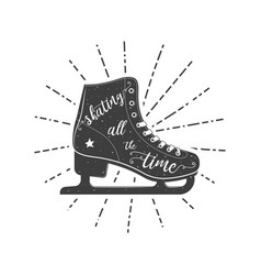 figure skate typographic poster vector image