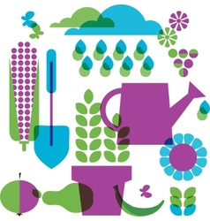 template of garden objects vector image vector image