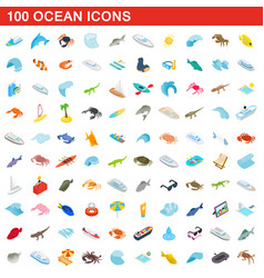 100 ocean icons set isometric 3d style vector image