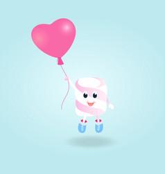 A funny boy marshmallow with balloon cartoon vector
