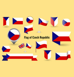 A large set icons and signs with flag of vector