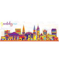 Abstract guadalajara mexico city skyline with vector