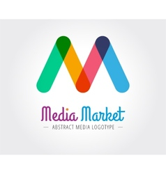 abstract m character logo template vector image
