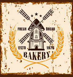 advertising banner for bakery with windmill vector image