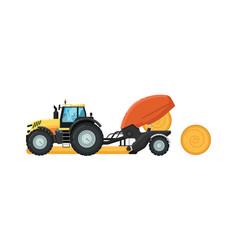 Agriculture tractor hay baler vector