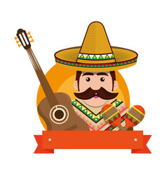 Background man with moustache and mexican elements vector