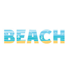 beach in the double exposure vector image