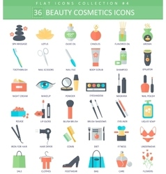 beauty and cosmetics color flat icon set vector image