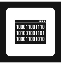 Binary code on screen icon simple style vector image