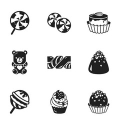 birthday candy icon set simple style vector image