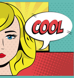 Blonde girl cool bubble speech pop art background vector