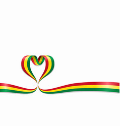 bolivian flag heart-shaped ribbon vector image
