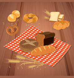 Bread products background vector