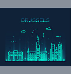 brussels skyline belgium linear style city vector image