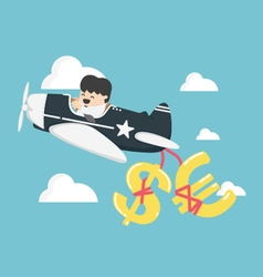 Businessman flying a plane have money dollar vector