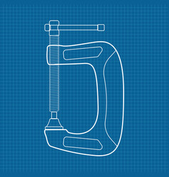c clamp icon blueprint background vector image