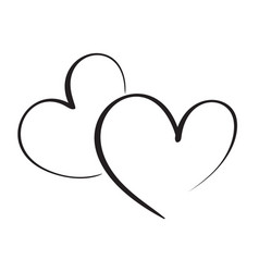 calligraphy heart art for design vector image