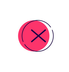Cancel logo sign metaphor cross icon vector