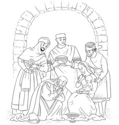 christian jesus nativity scene coloring page vector image