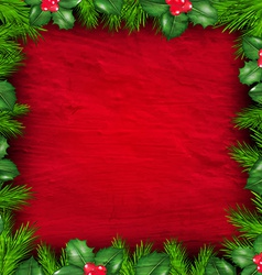 Christmas Frame From Holly Berry vector image