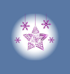christmas tree ball ornament flakes greetings card vector image